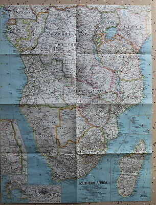 Southern Africa National Geographic Map / Poster November 1962