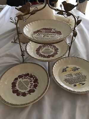 "4 Vintage  , Ceramic  11"" Pie Recipe Plate by Royal China Jeannette USA"