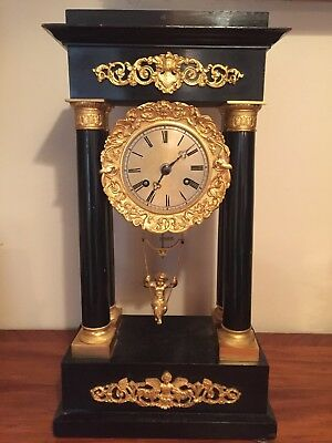 Rare antique French Portico Swinging Cherub mantel clock, late 19th century
