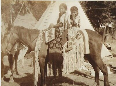 Native American Photos - Two Girls On Horse