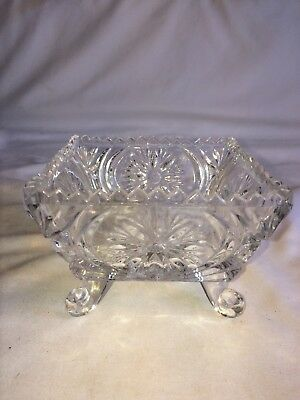 Heavy Cut Glass Clear Square Dish  Condiment Candy Nut Relish.