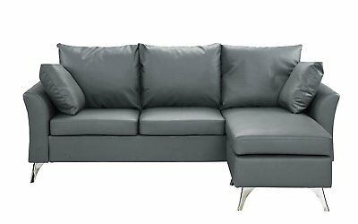 MODERN PU LEATHER Sectional Sofa - Small Space Faux Leather ...