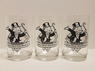 Lot of 3 Monopoly Game Uncle Pennybags Glass McDonald's Vintage 1996 Hasbro