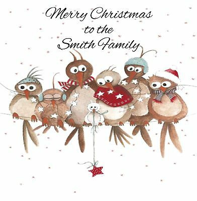 Handmade Personalised Christmas Owls Card Family, Mum ,Dad ,Son,Daughter