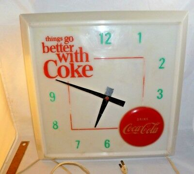 Vintage Coca Cola Lighted Merchandise Clock 1960 Hanover Manufacturing