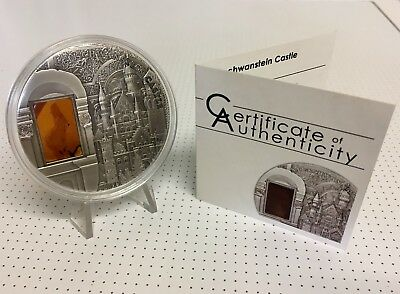 2011 Mineral Art NEUSCHWANSTEIN CASTLE $10 Silver Coin, Tiffany.
