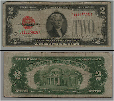 1928G $2 Dollar Bill Old Us Note Legal Tender Paper Money Currency  B-25