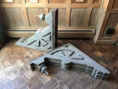 Large Antique Wood Corbels, Pair Of Corbels, Rustic Primitive Salvage Decor