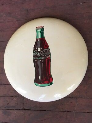 "24"" White Porcelain Coca-Cola Button Sign"