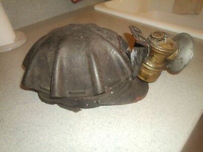 Antique Coal Mining, Leather Turtle-shell Hard Hat, w/Carbide Light