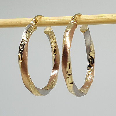 RARE 1.26g Classic Style Solid 14K PINK ROSE Gold Huggies Hoop Earrings 12x3mm