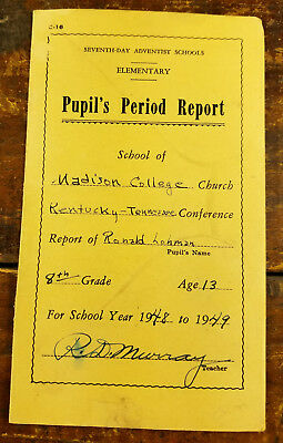 1948 1949 Seventh Day Adventist Schools Madison College Church KY TN Report Card