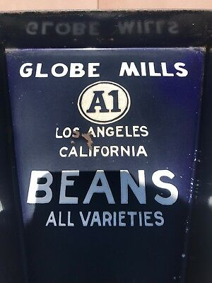 Antique Globe Mills A1 Beans Enameled Original Counting Tray Advertising *RARE*