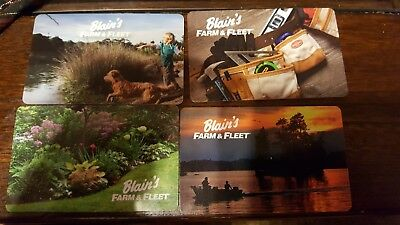 Set of 4 BLAIN'S FARM & FLEET Collectible Gift Cards, Cards have a Zero Balance