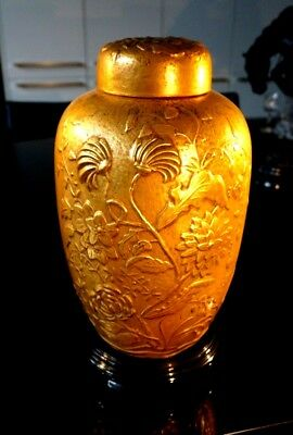 Beautiful Large Retro Gold Ginger Jar On Stand