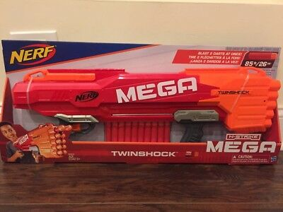 Nerf N Strike TwinShock Mega Elite Series Blaster NerfGun (Fires Up to 85 Feet)
