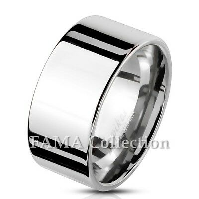 FAMA Mirror Polished Plain Flat 316L Stainless Steel Wide Band Rings