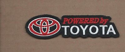 New 1 1/8 X 4 3/8 Inch Powered By Toyota Iron On Patch Free Shipping