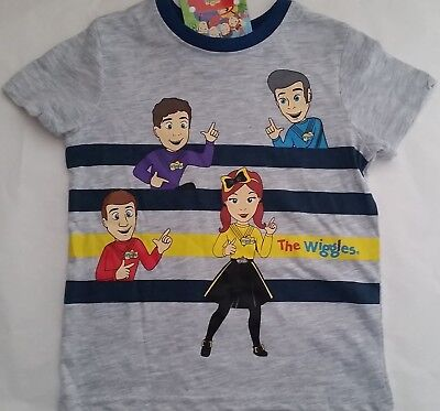 THE WIGGLES Boy Girl Licensed short sleeve tee t shirt top grey NEW sizes 1-5