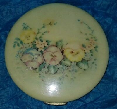 Vintage Oversized Ladies Floral Celluloid Compact with Pansies Fifth Ave Rex?