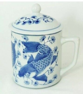 NEW BEAUTIFUL KOI FISH TEA CUP WITH LID CHINESE PORCELAIN . 6 Available