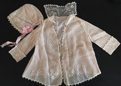 ANTIQUE Victorian Edwardian CHILD toddler COAT Jacket cotton LACE dolls & Bonnet