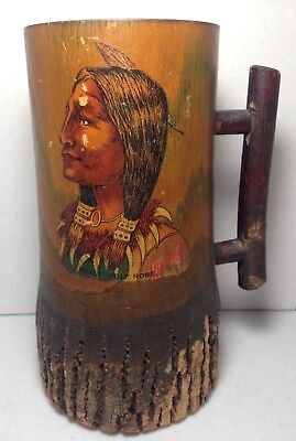 Carved Wood Folk Art Painted American Indian Chief Wolf Robe Stein Tankard Mug