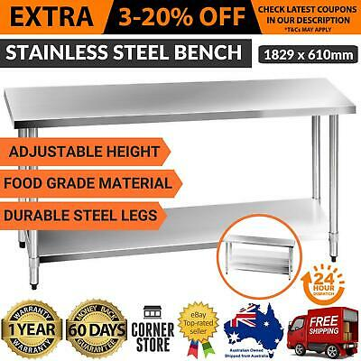 430 Stainless Steel Kitchen Work Bench Commercial Food Prep Table Top 1829x610mm