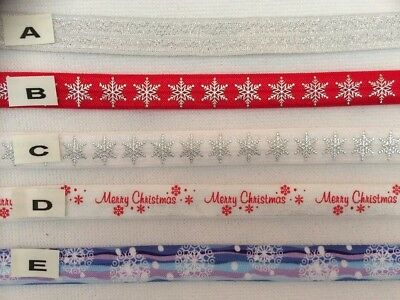 Fold over elastic ( FOE) Xmas Designs all designs sold by 2M - Sewing, Hair etc