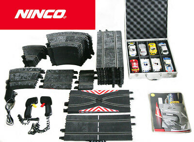 NINCO Slot Car Set+8 Cars+2 Hand Controllers+Extra Acc+Zag Box Great Condition