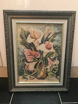 Beautiful 'arum Flower Vase' Completed  Needlepoint Tapestry Canvas Framed