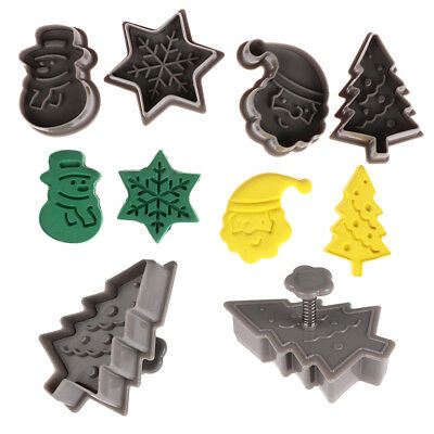 4pcs Xmas Tree Cake Fondant Cookie Cutter Christmas Biscuit Mold Plunger Baking