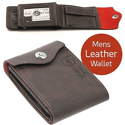 Mens Luxury Soft Quality Leather Wallet, Credit Card Holder, Purse Dark Brown
