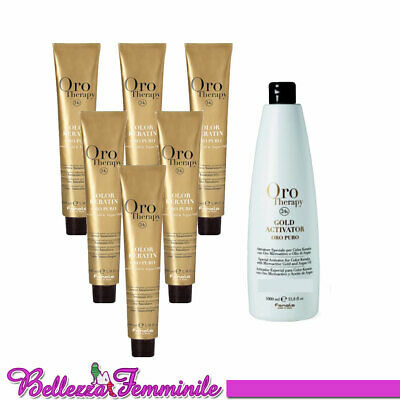 Fanola Colore tinta capelli kit da 6 Oro Therapy + Gold activator 20 vol. 1000ml