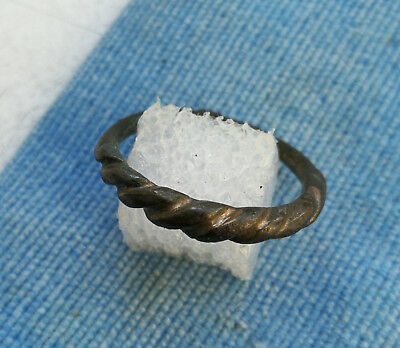 ancient Viking Twisted bronze finger ring GREAT CONDITION