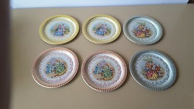Set of 6 Metal Tin Display/Serving Platters/Plates/Trays french scene
