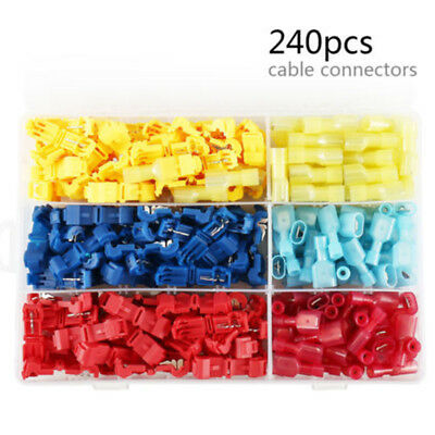 240* Insulated 22-10 AWG T-Taps Quick Splice Wire Terminals Connectors Combo Kit