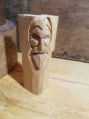 Excellent Primitive Antique Whittled Folky Hand Carved 2-Sided Face Figure