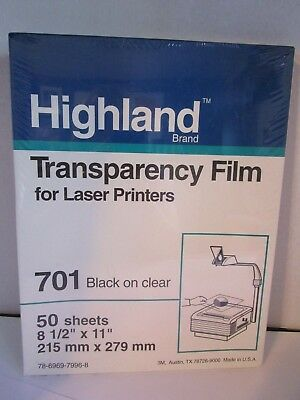 "Highland 701 TRANSPARENCY FILM 50 Sheets 8.5"" x 11"" Sealed NEW in Box Free Ship"