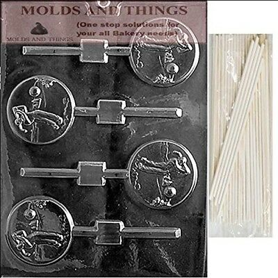 GOLF LOLLY Chocolate Candy Mould With © Moulding Instruction + 25 Lollipop
