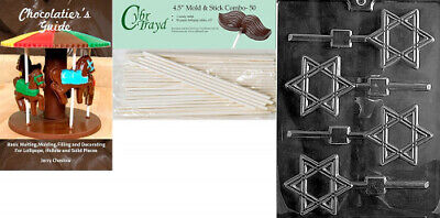 (+50 Sticks/Book) - Cybrtrayd Star of David Lolly Chocolate Candy Mould with
