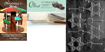 (+50 Stx/Bags/Bk) - Cybrtrayd Star of David Lolly Chocolate Candy Mould with