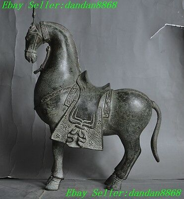 """13"""" Old china fengshui pure bronze animal Tang horse success lucky zodiac statue"""