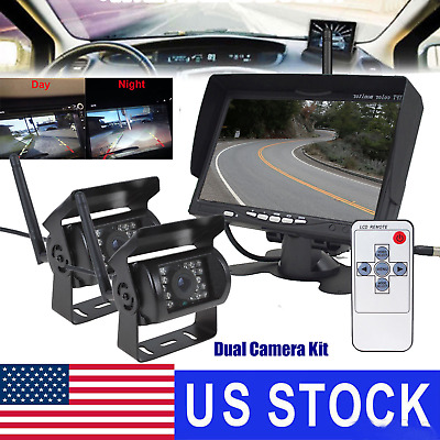 """7"""" LCD Monitor 2X Wireless Rear View Backup Camera Night Vision For RV Truck Bus"""