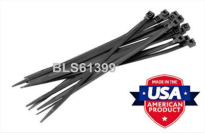 """10 USA Made TOUGH TIES 24"""" inch 175lb Nylon Tie Wraps Wire Cable Zip Ties Black"""