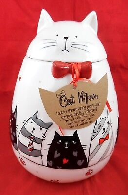 "Cat Mom 10"" Tall Kitty Cat Cookie Jar/ Canister W/ Kittens/ Hearts/ Paws Nwt!"
