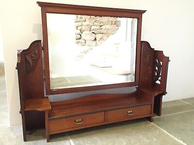 Antique Mahogany Dressing Table Mirror with Drawers.
