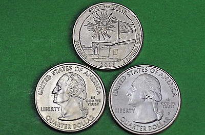 2013-P D S  BU Mint State ( Fort McHenry )  US National Park Quarter(3 Coins)