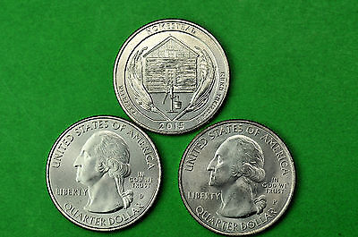 2015-P D S  BU Mint State(Homestead Monument) US National Park Quarter(3 Coins)