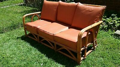 Vtg Mid Century Modern Rattan 5 Pc Patio Room Set Sofa 2 End Tables & 2 Chairs